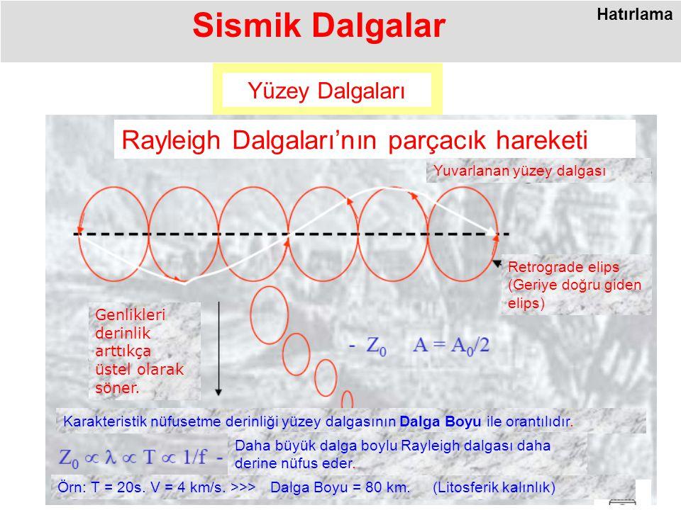 Sismik Dalgalar Rayleigh Dalgaları'nın parçacık hareketi