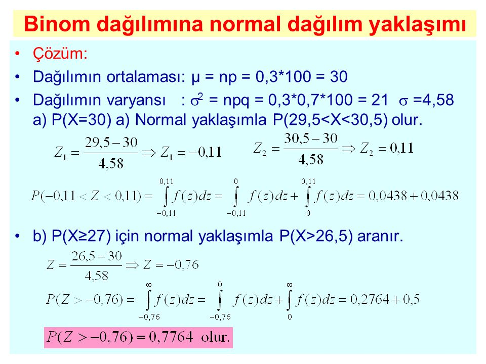 Binom dağılımına normal dağılım yaklaşımı
