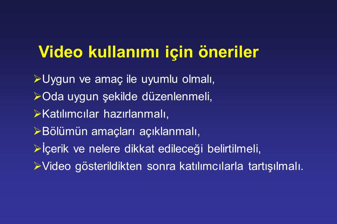 Video kullanımı için öneriler
