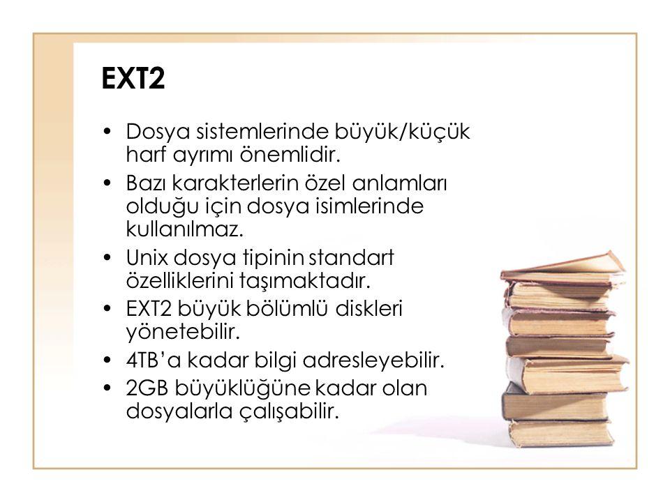 EXT2 Dosya sistemlerinde büyük/küçük harf ayrımı önemlidir.