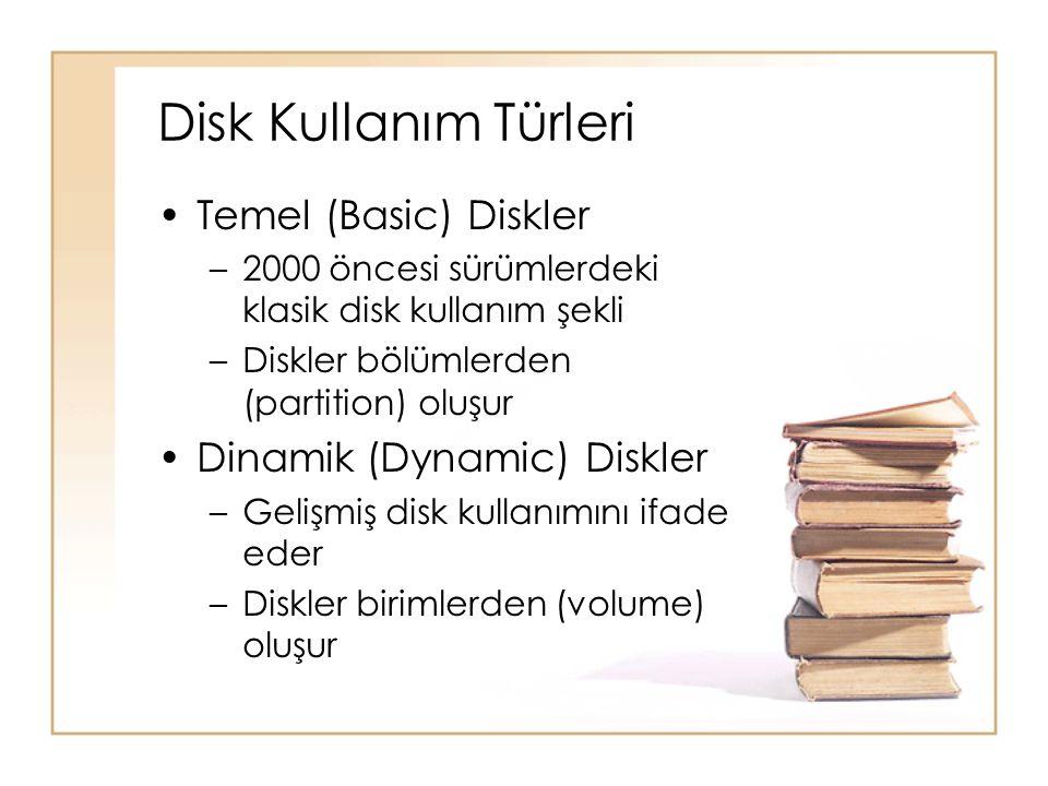 Disk Kullanım Türleri Temel (Basic) Diskler Dinamik (Dynamic) Diskler