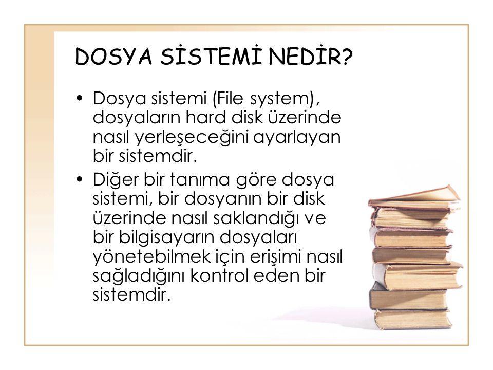 DOSYA SİSTEMİ NEDİR Dosya sistemi (File system), dosyaların hard disk üzerinde nasıl yerleşeceğini ayarlayan bir sistemdir.