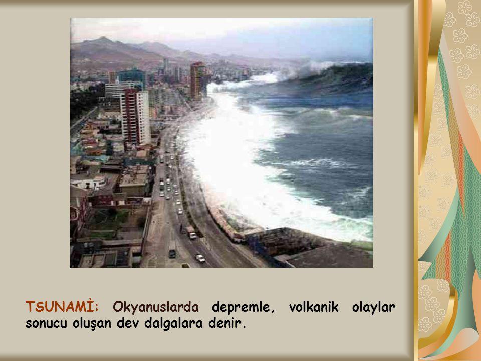TSUNAMİ: Okyanuslarda depremle, volkanik olaylar sonucu oluşan dev dalgalara denir.