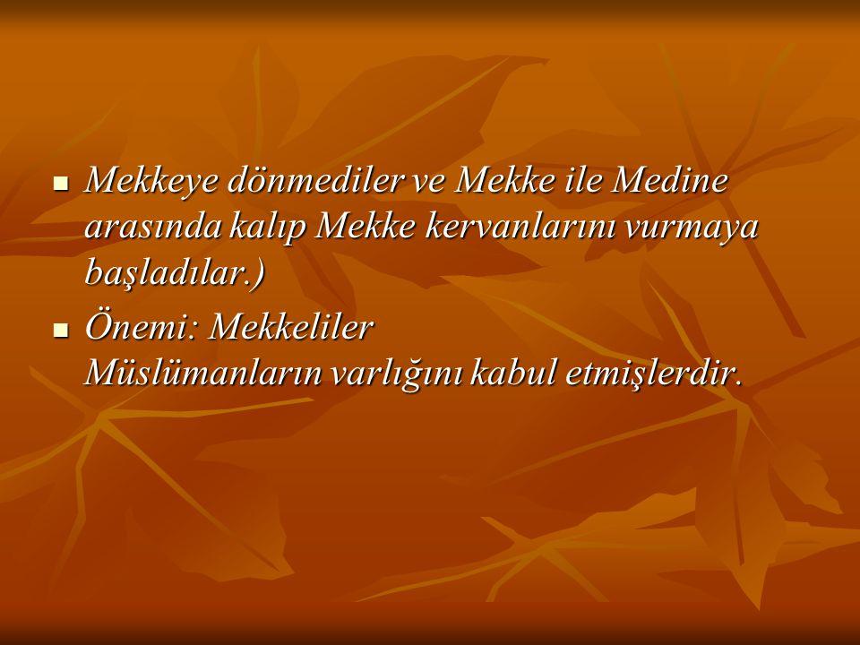Mekkeye dönmediler ve Mekke ile Medine arasında kalıp Mekke kervanlarını vurmaya başladılar.)