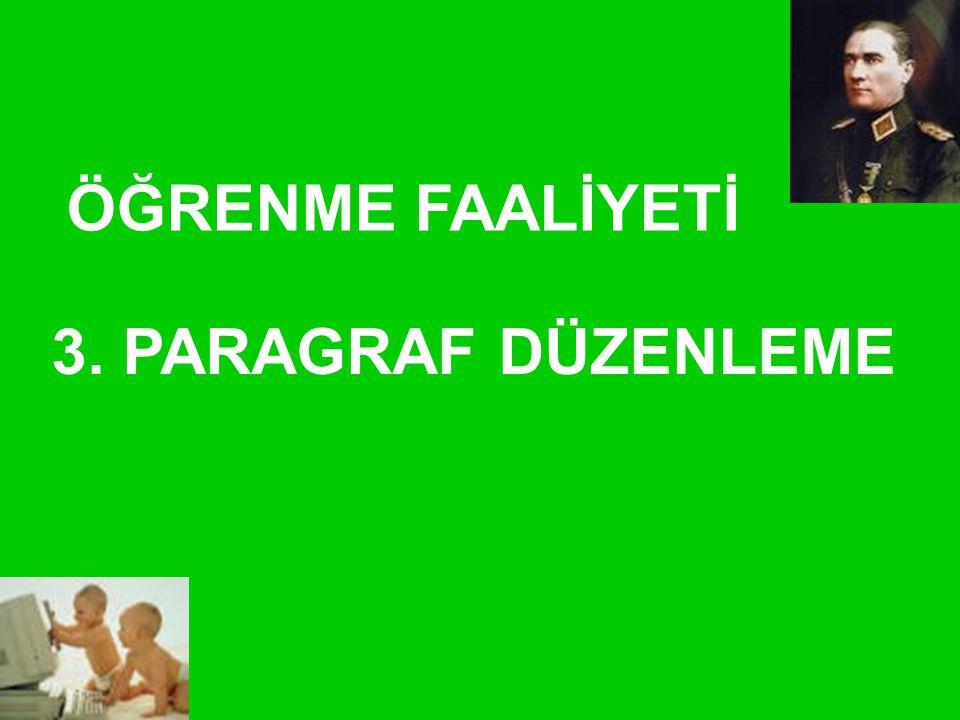 ÖĞRENME FAALİYETİ 3. PARAGRAF DÜZENLEME