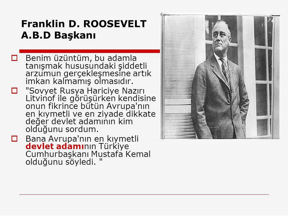 Franklin D. ROOSEVELT A.B.D Başkanı