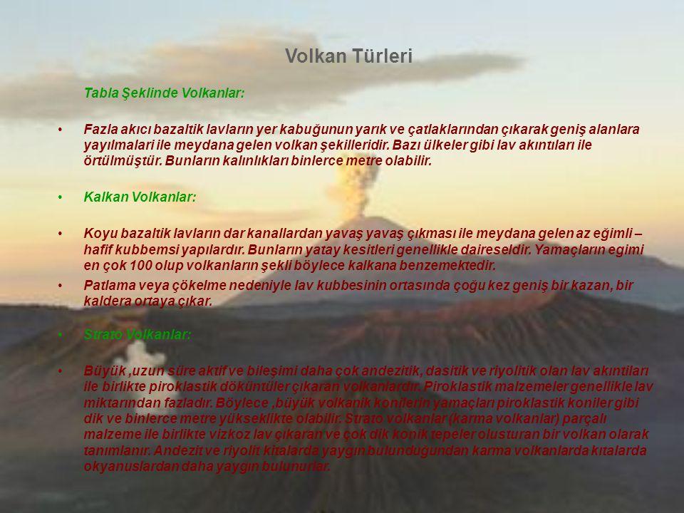 Volkan Türleri Tabla Şeklinde Volkanlar: