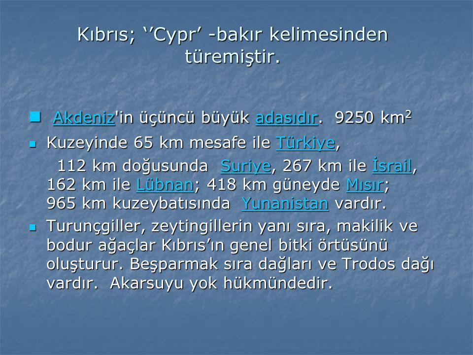 Kıbrıs; ''Cypr' -bakır kelimesinden türemiştir.