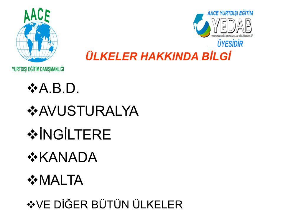 A.B.D. AVUSTURALYA İNGİLTERE KANADA MALTA ÜLKELER HAKKINDA BİLGİ