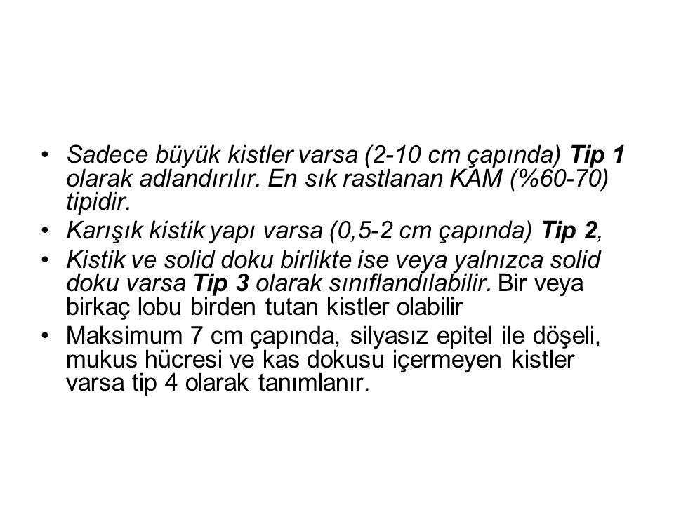 Sadece büyük kistler varsa (2-10 cm çapında) Tip 1 olarak adlandırılır