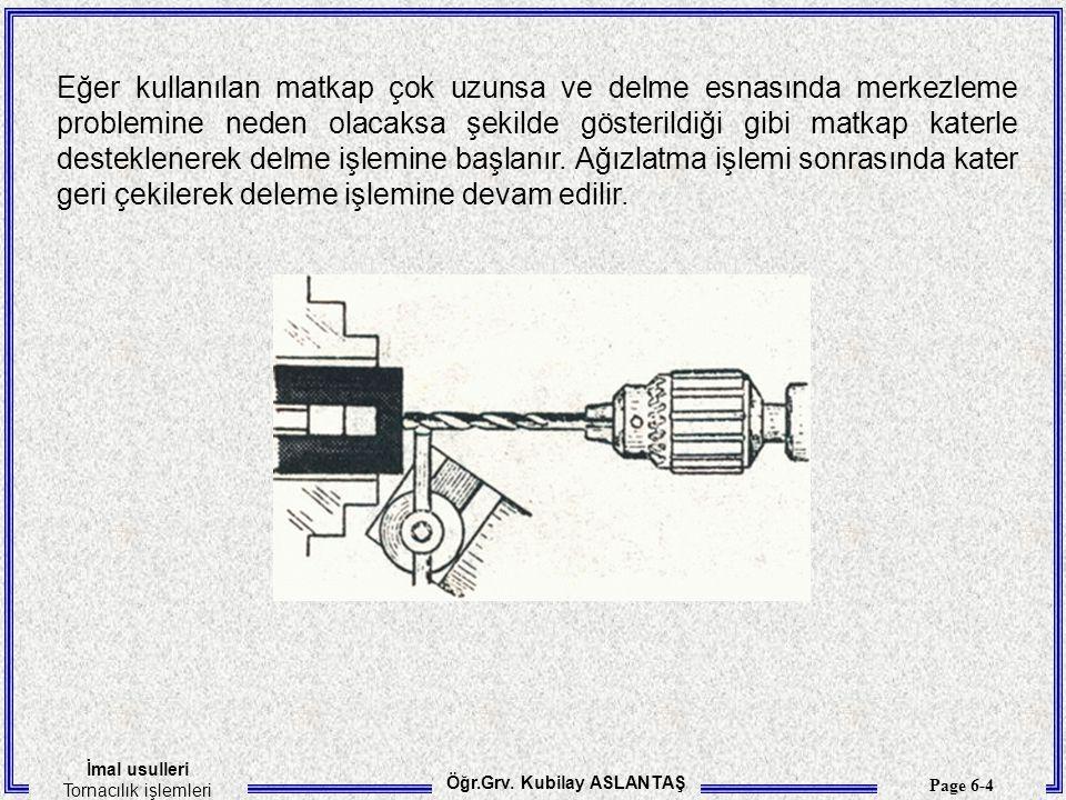 Eğer kullanılan matkap çok uzunsa ve delme esnasında merkezleme problemine neden olacaksa şekilde gösterildiği gibi matkap katerle desteklenerek delme işlemine başlanır.