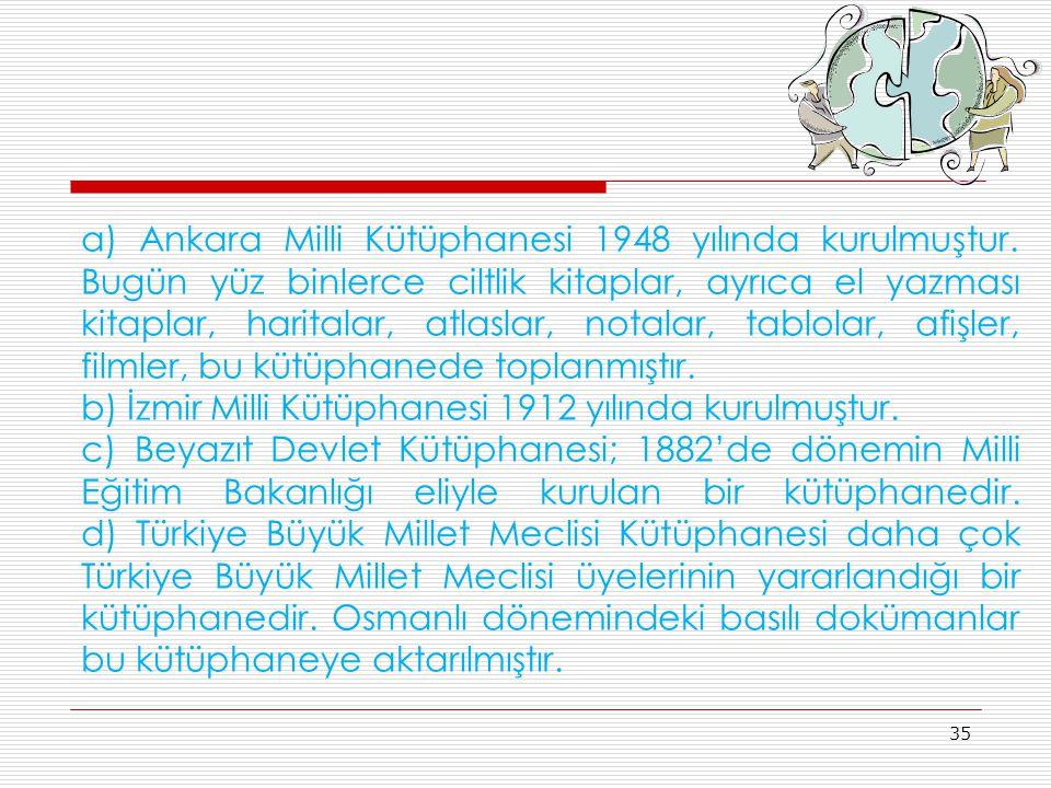 a) Ankara Milli Kütüphanesi 1948 yılında kurulmuştur