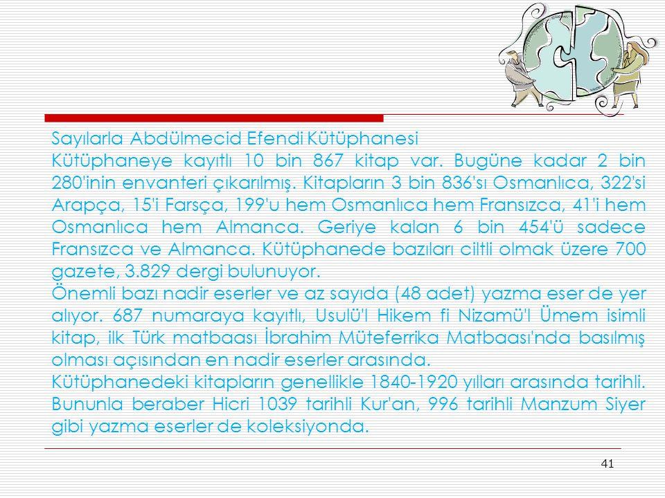 Sayılarla Abdülmecid Efendi Kütüphanesi
