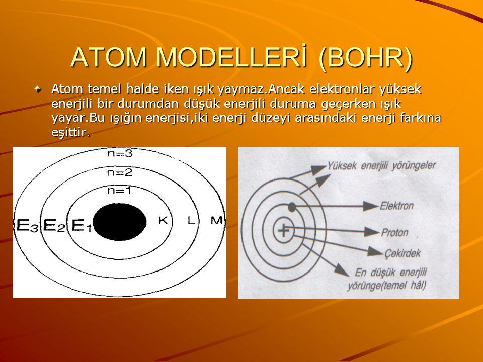 ATOM MODELLERİ (BOHR)
