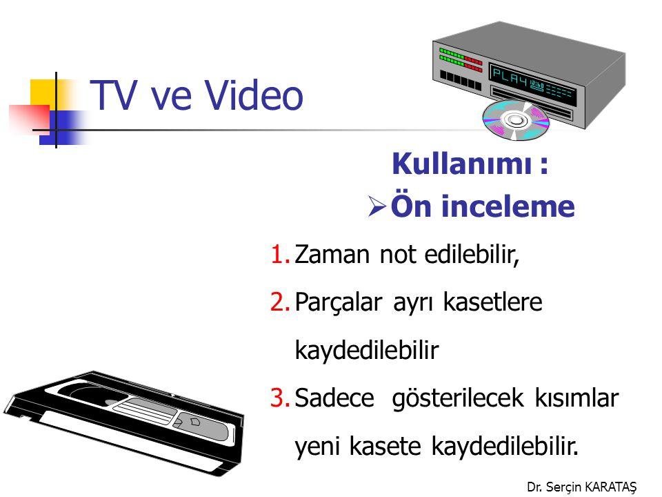 TV ve Video Kullanımı : Ön inceleme Zaman not edilebilir,