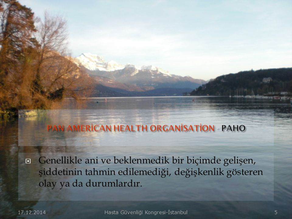PAN AMERİCAN HEALTH ORGANİSATİON - PAHO