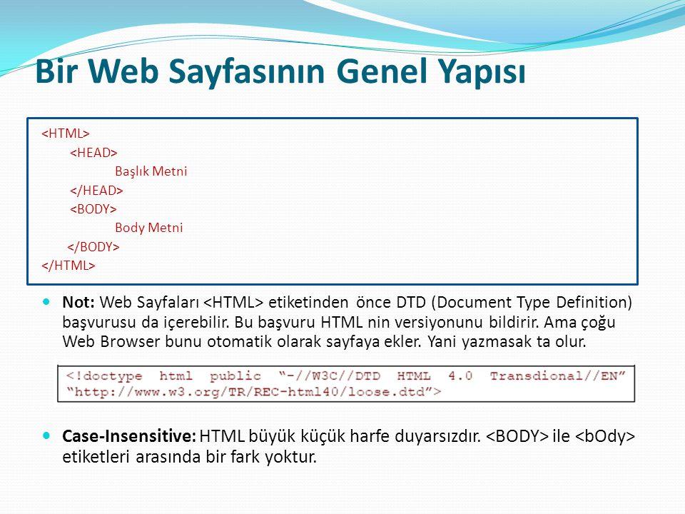 Bir Web Sayfasının Genel Yapısı
