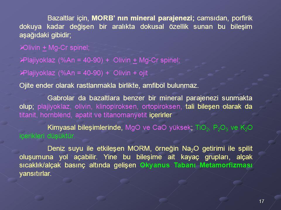 Bazaltlar için, MORB' nın mineral parajenezi; camsıdan, porfirik dokuya kadar değişen bir aralıkta dokusal özellik sunan bu bileşim aşağıdaki gibidir;