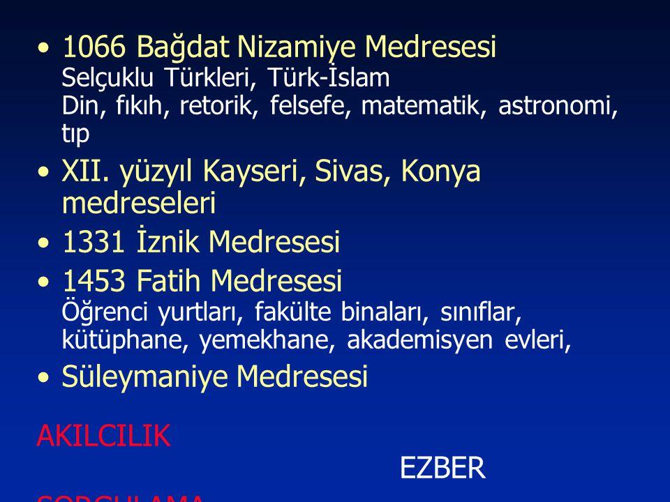 1066 Bağdat Nizamiye Medresesi Selçuklu Türkleri, Türk-İslam Din, fıkıh, retorik, felsefe, matematik, astronomi, tıp
