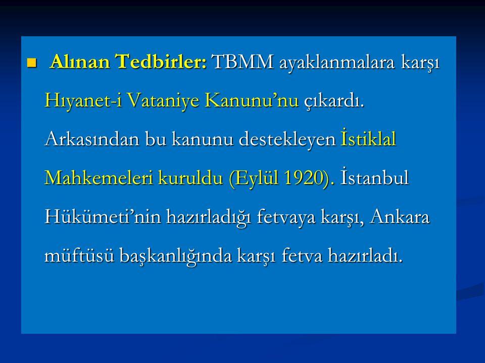 Alınan Tedbirler: TBMM ayaklanmalara karşı Hıyanet-i Vataniye Kanunu'nu çıkardı.