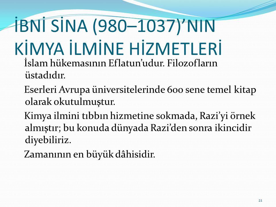 İBNİ SİNA (980–1037)'NIN KİMYA İLMİNE HİZMETLERİ