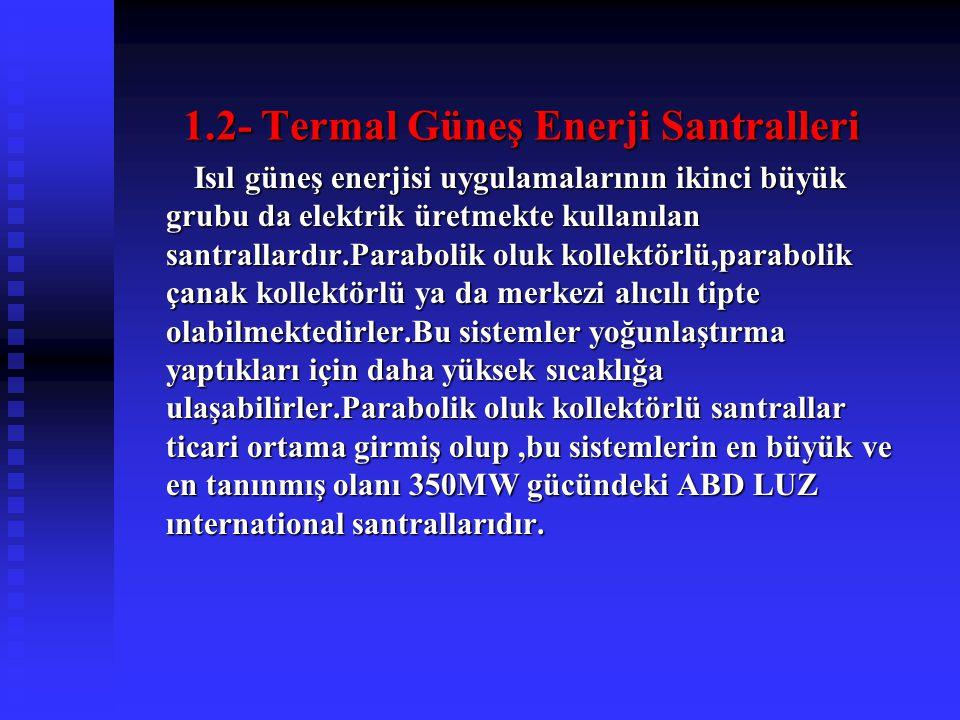 1.2- Termal Güneş Enerji Santralleri