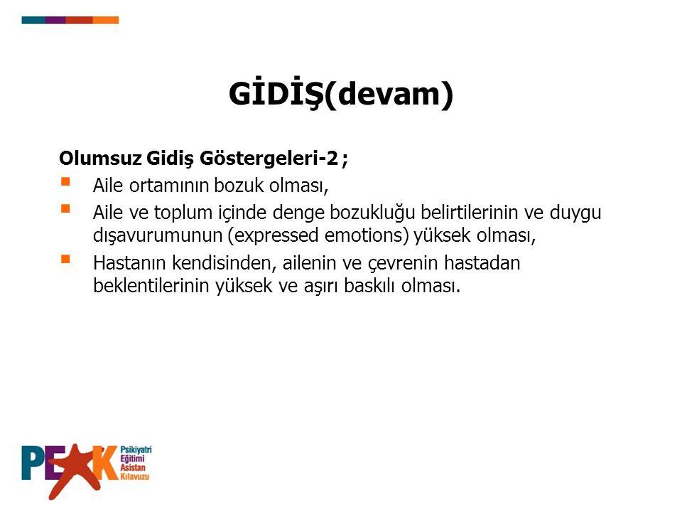 GİDİŞ(devam) Olumsuz Gidiş Göstergeleri-2 ;