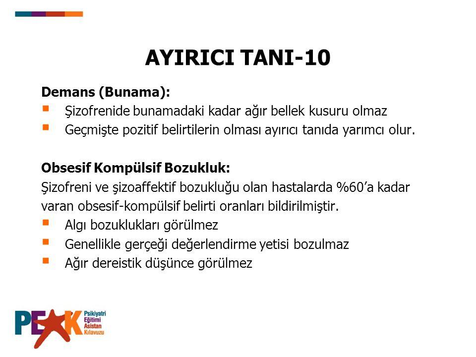 AYIRICI TANI-10 Demans (Bunama):
