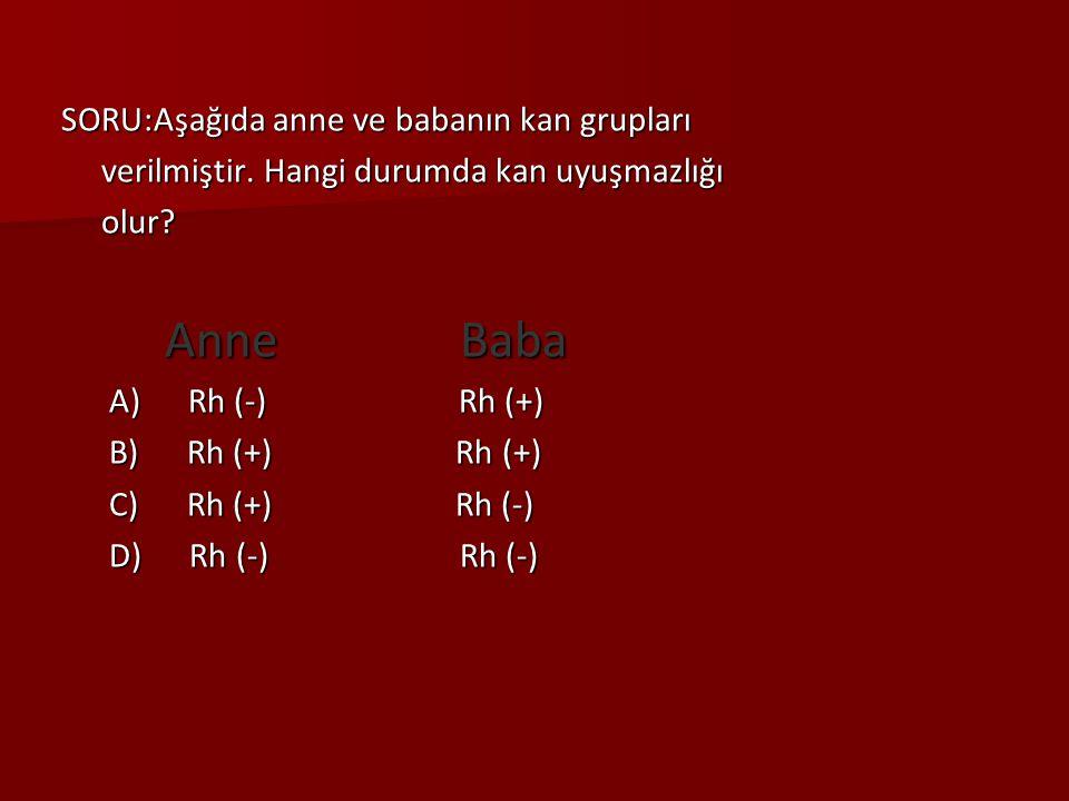 SORU:Aşağıda anne ve babanın kan grupları verilmiştir