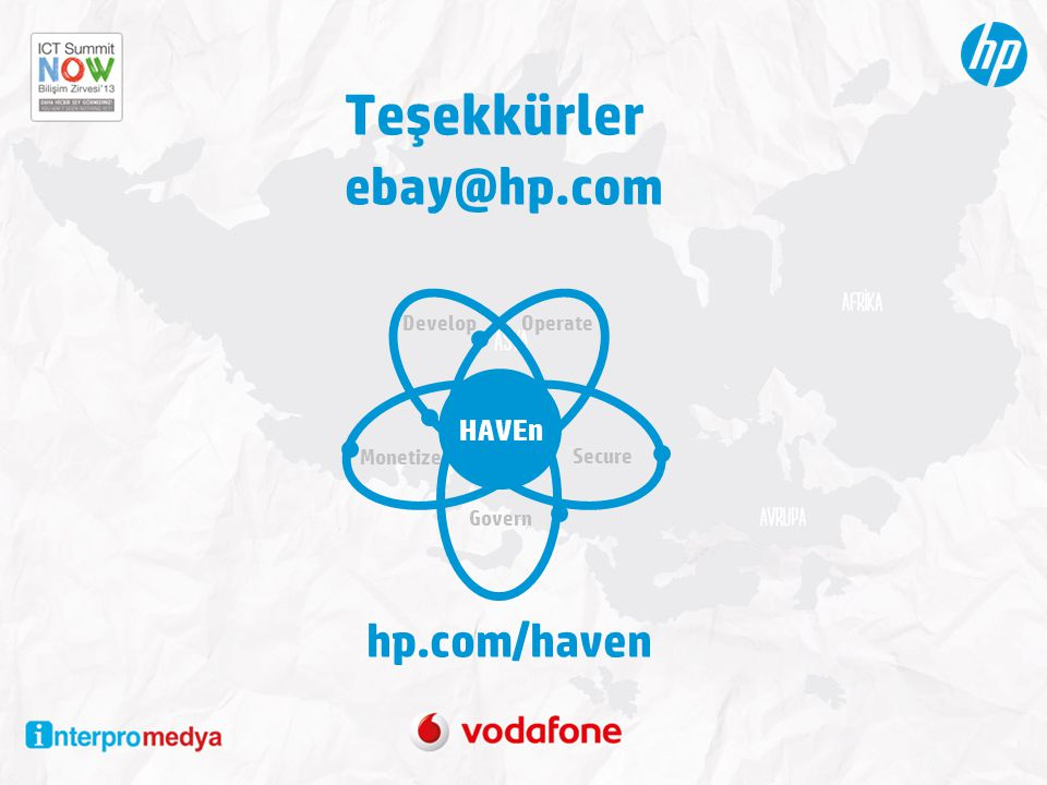 Teşekkürler ebay@hp.com hp.com/haven HAVEn Develop Operate Monetize