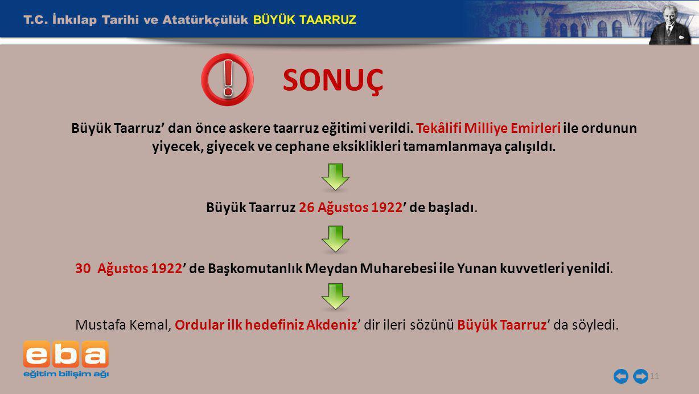 Büyük Taarruz 26 Ağustos 1922' de başladı.