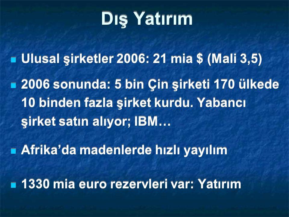 Dış Yatırım Ulusal şirketler 2006: 21 mia $ (Mali 3,5)