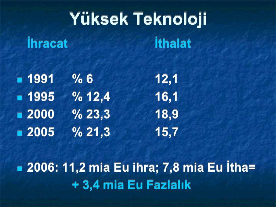 Yüksek Teknoloji İhracat İthalat 1991 % 6 12,1 1995 % 12,4 16,1