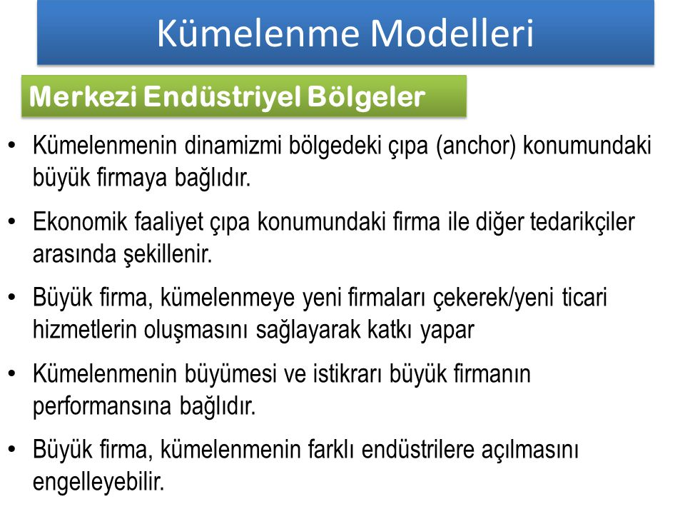 Kümelenme Modelleri Merkezi Endüstriyel Bölgeler