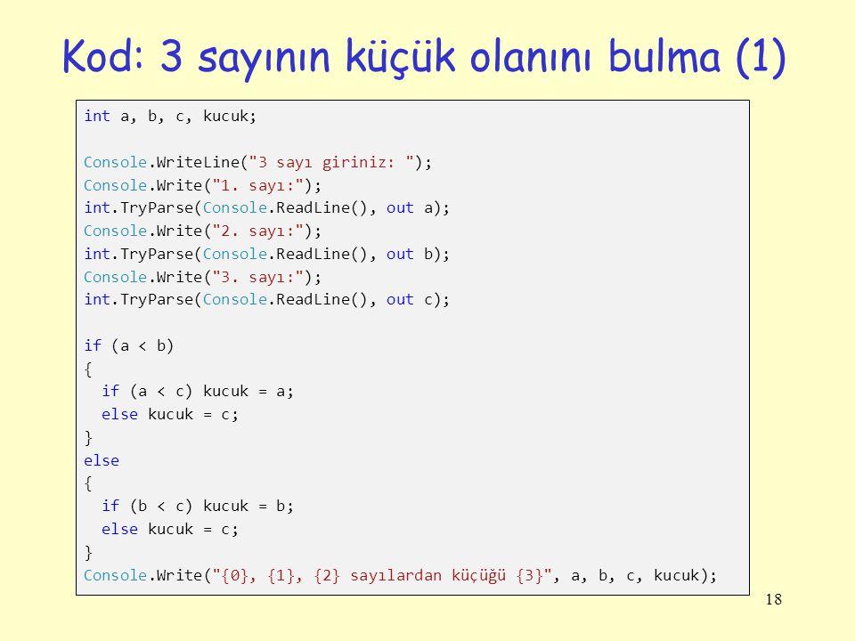 Kod: 3 sayının küçük olanını bulma (1)