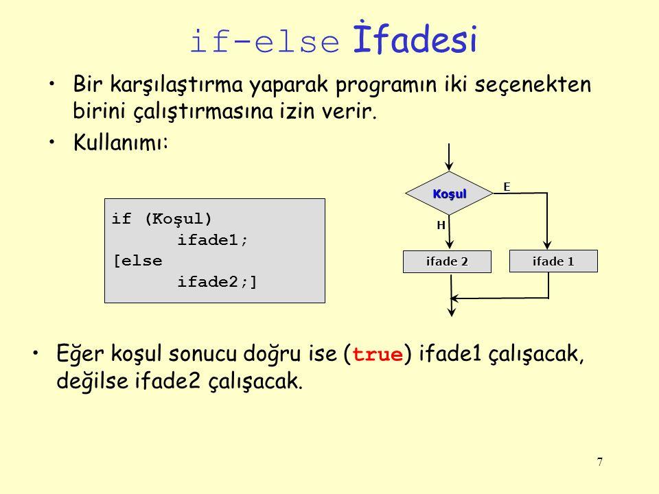 if-else İfadesi Bir karşılaştırma yaparak programın iki seçenekten birini çalıştırmasına izin verir.