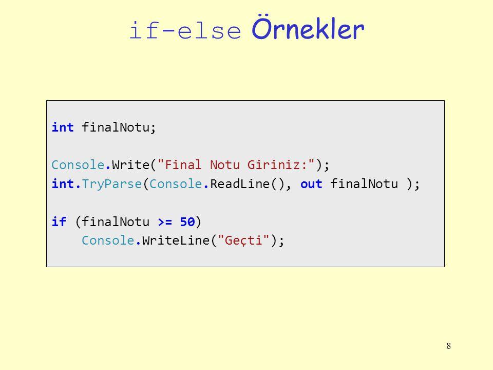 if-else Örnekler int finalNotu; Console.Write( Final Notu Giriniz: );