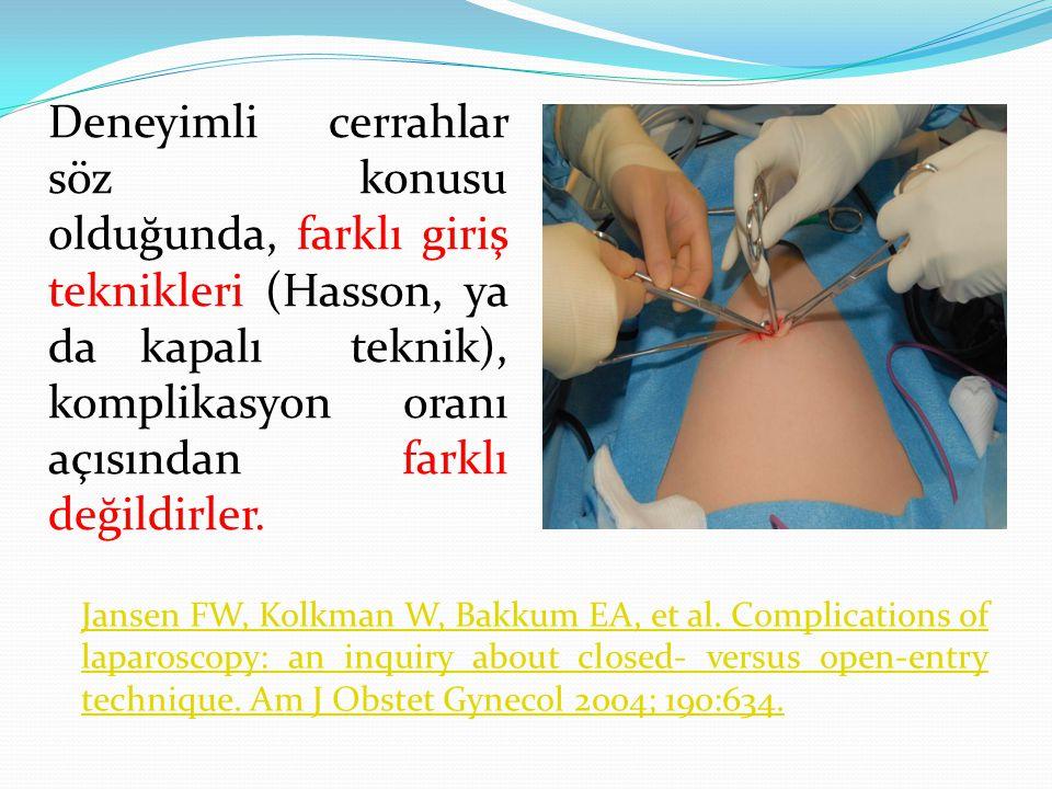 Deneyimli cerrahlar söz konusu olduğunda, farklı giriş teknikleri (Hasson, ya da kapalı teknik), komplikasyon oranı açısından farklı değildirler.