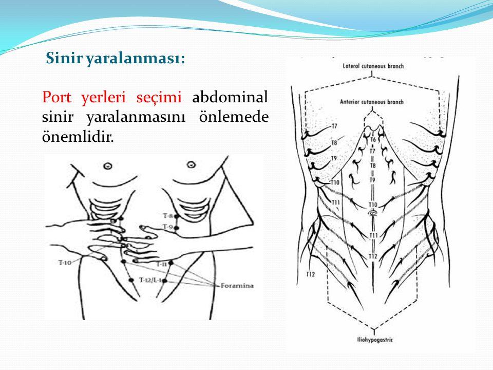 Sinir yaralanması: Port yerleri seçimi abdominal sinir yaralanmasını önlemede önemlidir.