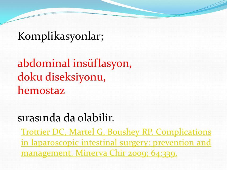 abdominal insüflasyon, doku diseksiyonu, hemostaz