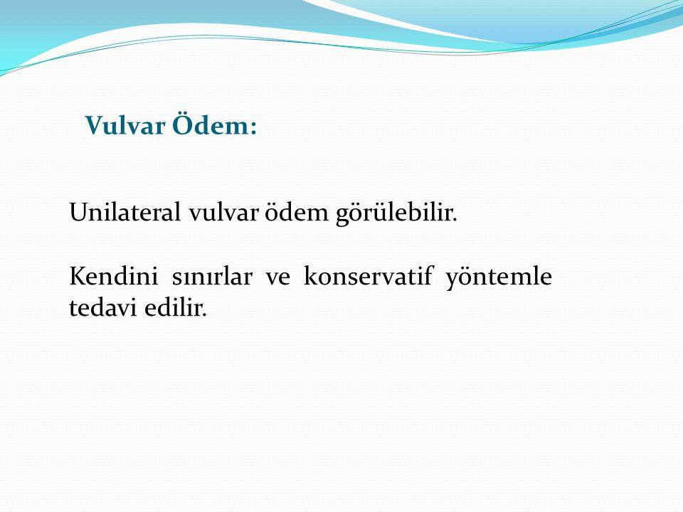 Vulvar Ödem: Unilateral vulvar ödem görülebilir.