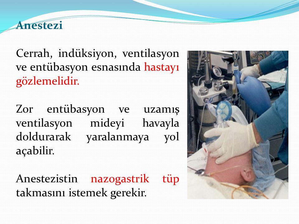 Anestezi Cerrah, indüksiyon, ventilasyon ve entübasyon esnasında hastayı gözlemelidir.