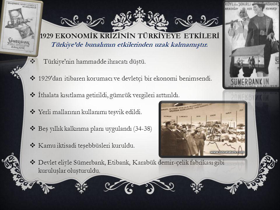 1929 EKONOMİK KRİZİNİN TÜRKİYEYE ETKİLERİ