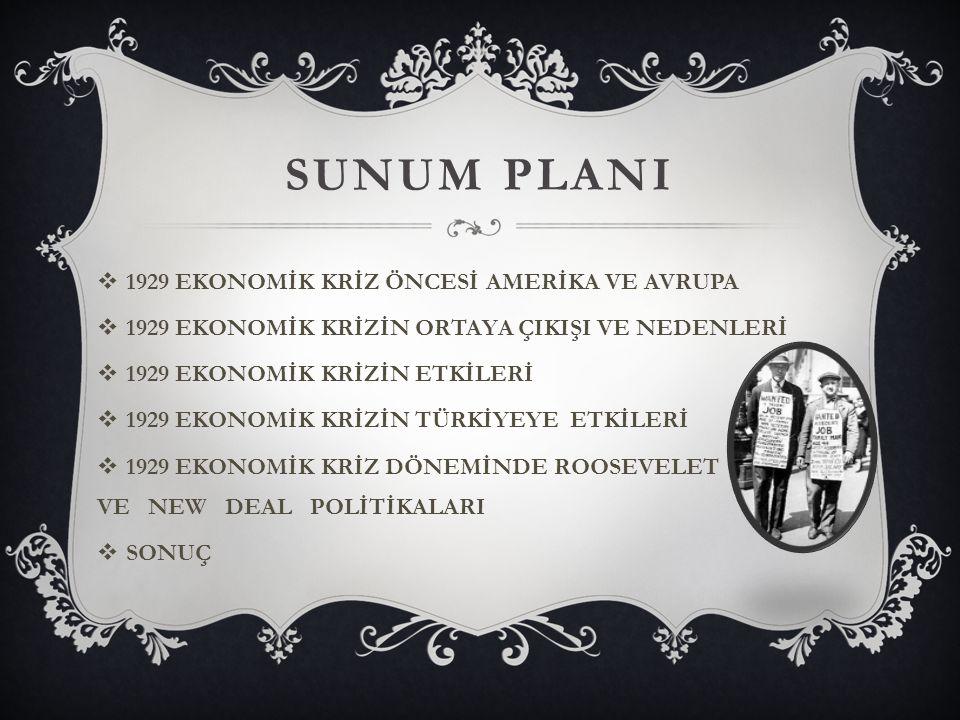 SUNUM PLANI 1929 EKONOMİK KRİZ ÖNCESİ AMERİKA VE AVRUPA