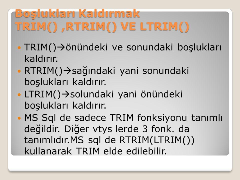 Boşlukları Kaldırmak TRIM() ,RTRIM() VE LTRIM()