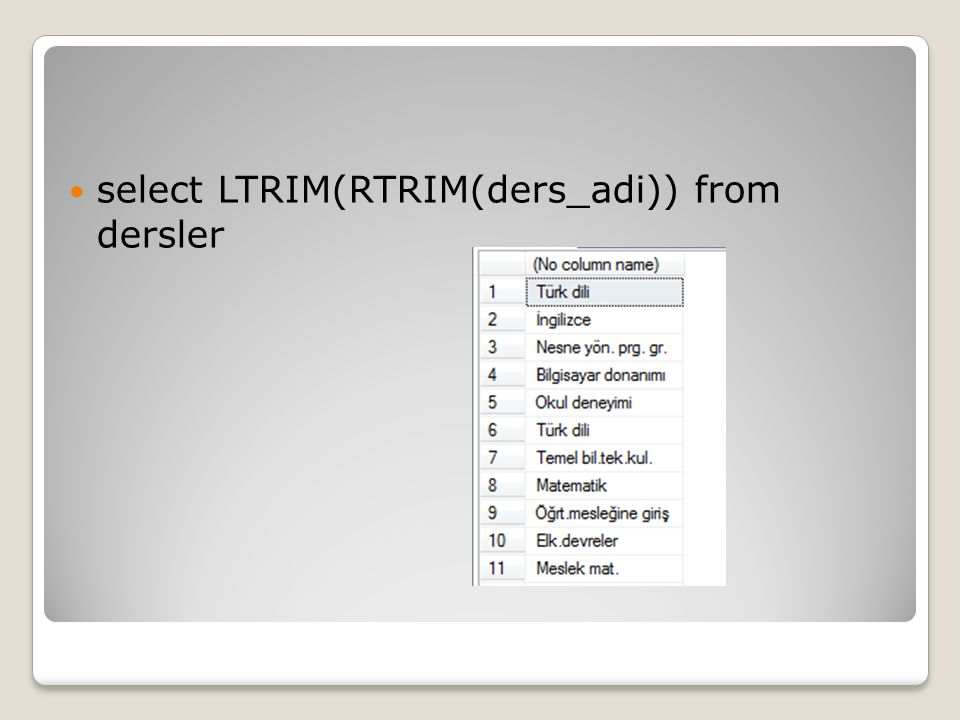 select LTRIM(RTRIM(ders_adi)) from dersler