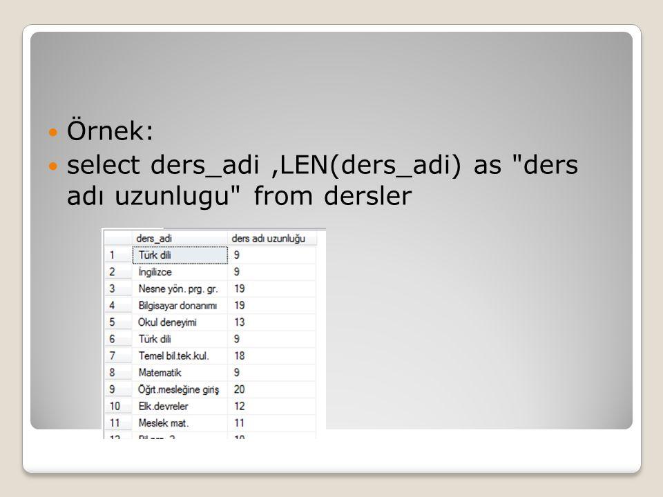Örnek: select ders_adi ,LEN(ders_adi) as ders adı uzunlugu from dersler