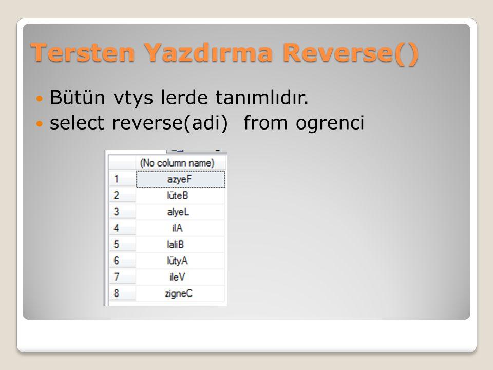Tersten Yazdırma Reverse()