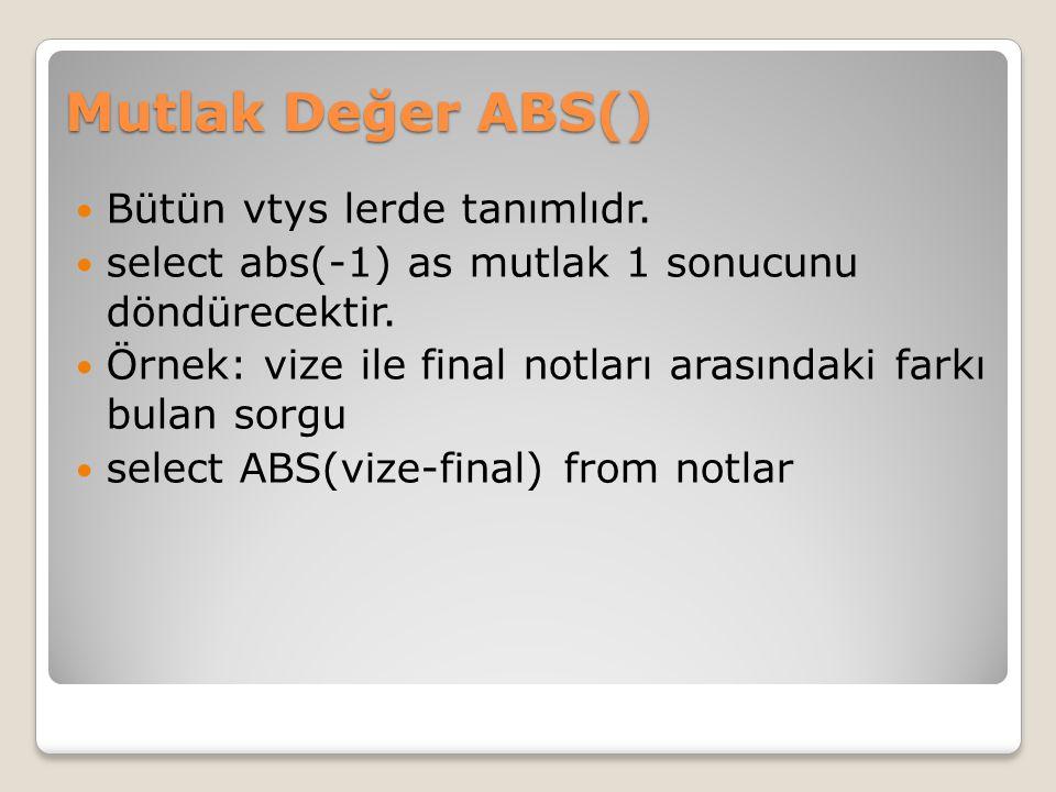 Mutlak Değer ABS() Bütün vtys lerde tanımlıdr.
