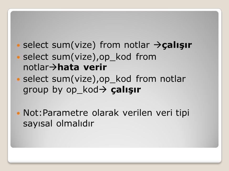 select sum(vize) from notlar çalışır